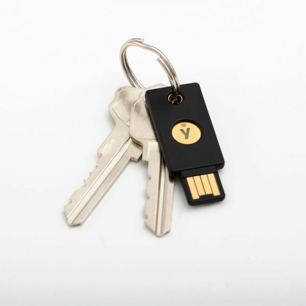 YubiKey 5 NFC on a keyring
